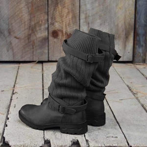 Comfy Sweater Vintage Paneled Adjustable Buckle Casual Boots