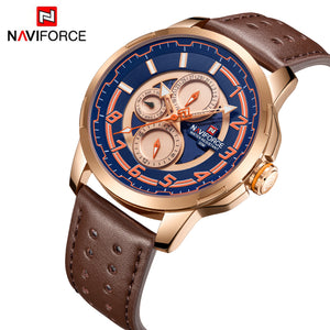 men's watches six hand watches waterproof leather strap watches