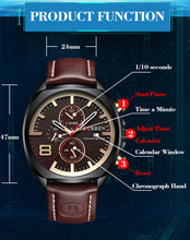 Load image into Gallery viewer, Men's Watches -  Leather Strap Waterproof