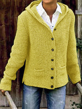 Load image into Gallery viewer, Hooded Long Sleeve Knitted Cardigan Sweater Outerwear