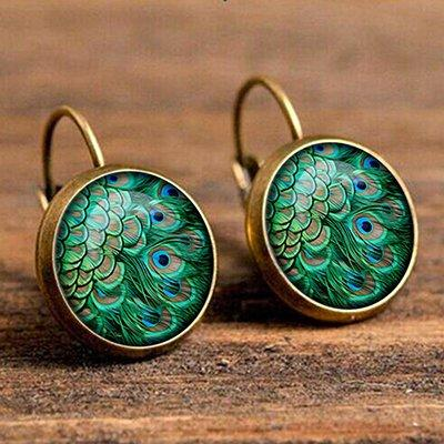 Alloy Peacock Feather Pattern Vintage Boho Ethnic Holiday Daily Earrings