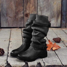 Load image into Gallery viewer, Comfy Sweater Vintage Paneled Adjustable Buckle Casual Boots