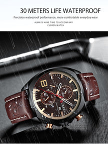 Men's Watches -  Leather Strap Waterproof