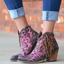 Load image into Gallery viewer, Fashion Leopard Tassel Low Heel Boots