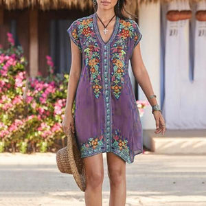 Plus Size Bohemian Embroidery V Neck Dress