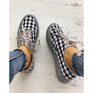 Women Plaid Insert Lace-Up Casual Shoes