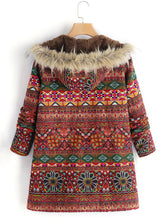 Load image into Gallery viewer, Ethnic Printed Faux Fur Hooded Fleece Autumn Winter Coat