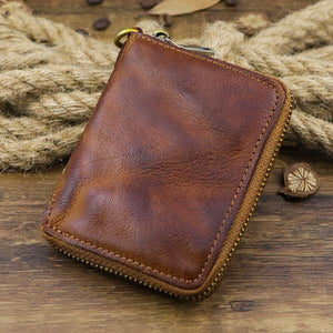 Large Capacity Distressed Retro Zipper Business Casual Wallet