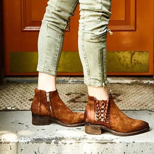 Women Lace-Up Slip-On Vintage Boots