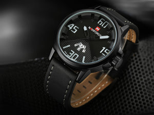 Men's Watch Men's Calendar Men's Leather Strap Quartz