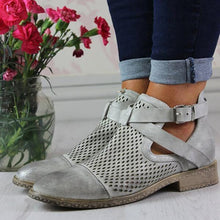 Load image into Gallery viewer, Hollow Across Strap Casual Ankle Boot