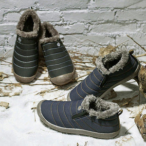 Large Size Unisex Waterproof Fur Lining Slip On Snow Boots