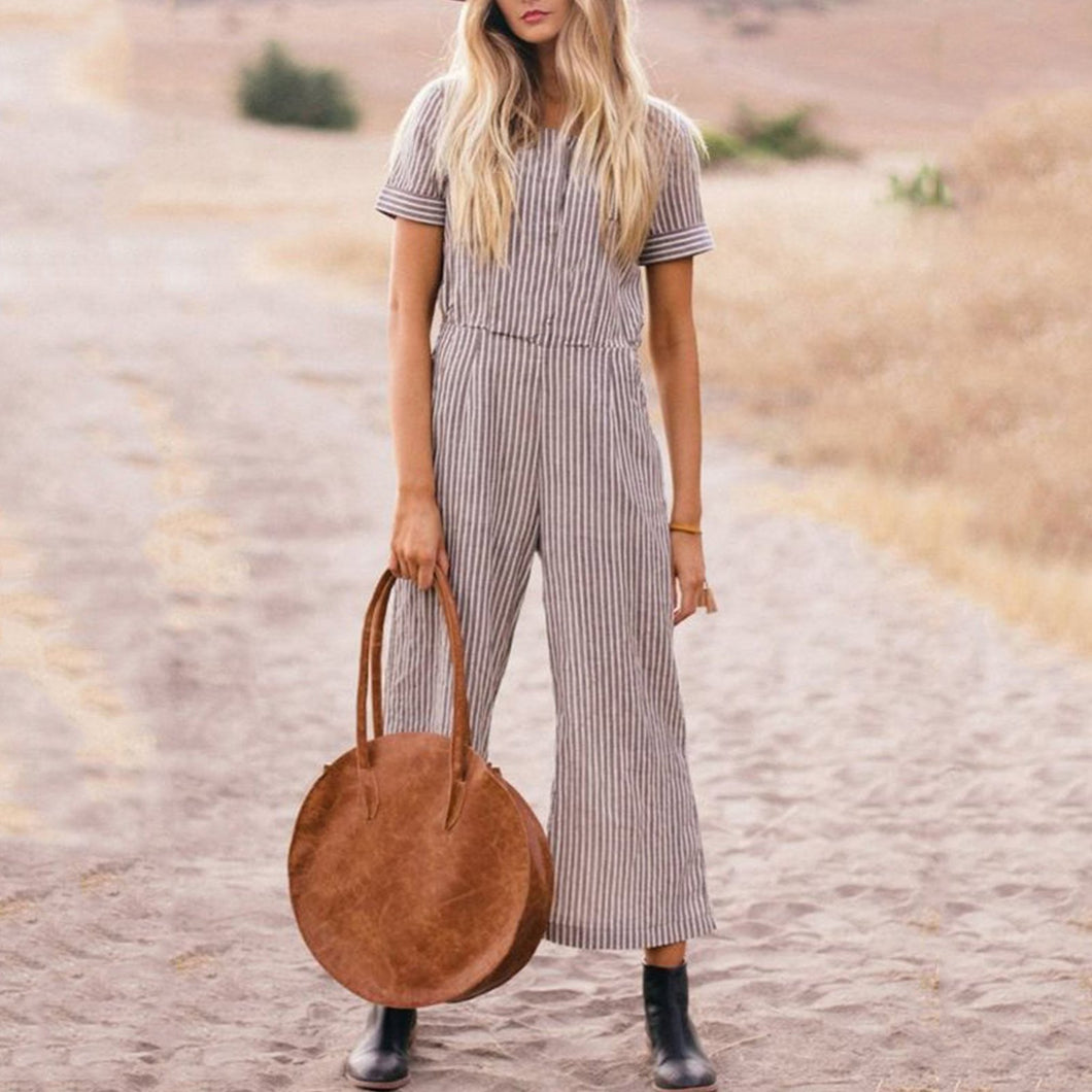 Plus Size Casual Short Sleeve Striped Jumpsuit