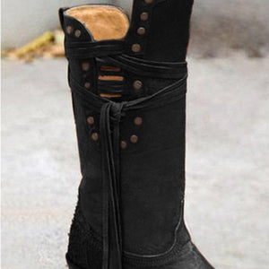 Rivet Casual Fall Low Heel Boots