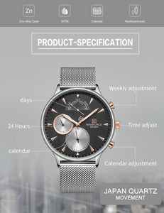 Men's Watch 6 Hand Multifunctional Waterproof Quartz