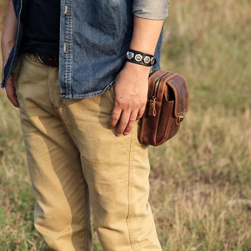 Cool Leather Men's Cell Phone Holster Belt Pouch Waist Bag