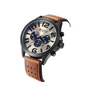 Men's Watch Six Hands Single Calendar Leather Men's Watch