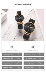 Couple Watch Waterproof Quartz Mesh Band