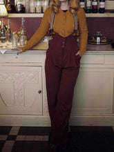 Load image into Gallery viewer, Wine Red Vintage Paneled Plain Cotton-Blend Pants
