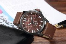 Load image into Gallery viewer, Men's Watch Date Day Leather Waterproof Quartz Watch