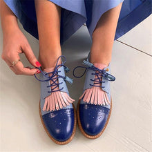 Load image into Gallery viewer, Classic Tassel Design Contrast Color Lace-Up Single Shoes