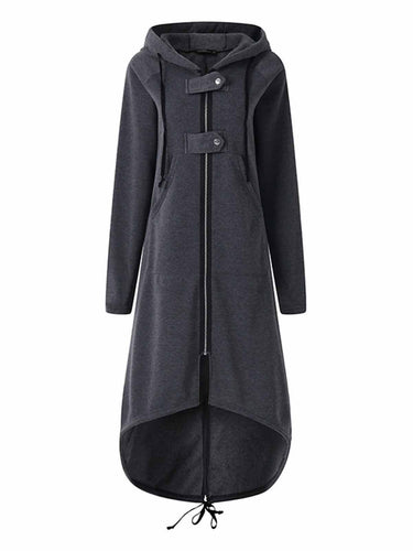 Hooded Sweatshirt Dress Zipper Asymmetric Long Jacke Coats