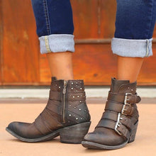 Load image into Gallery viewer, Buckle Shotie Side Zipper Vintage Boots