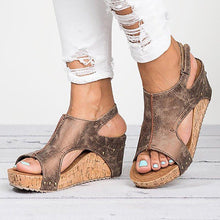 Load image into Gallery viewer, Peep Toe PU Blocking Hook-Loop Wedge Sandals