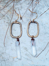 Load image into Gallery viewer, Women Raw Quartz Crystal Drop Antique Charm Earrings