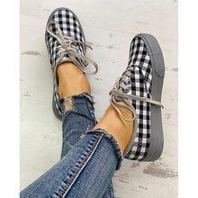 Load image into Gallery viewer, Women Plaid Insert Lace-Up Casual Shoes