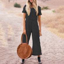 Load image into Gallery viewer, Plus Size Casual Short Sleeve Striped Jumpsuit