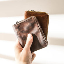 Load image into Gallery viewer, Vintage Leather Zipper Men's Multifunctional Vertical Small Wallet