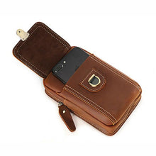 Load image into Gallery viewer, Cool Leather Men's Cell Phone Holster Belt Pouch Waist Bag