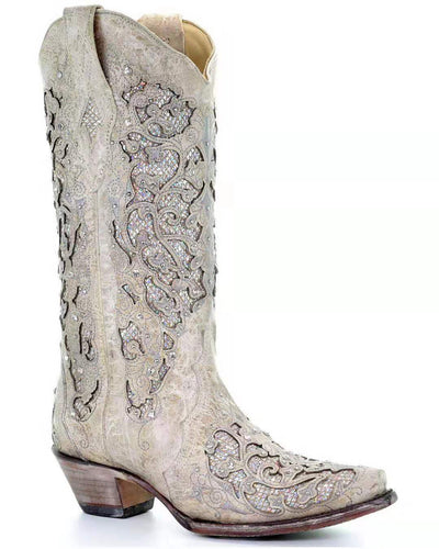 Stockbreeding women's white glitter inlaid western boots