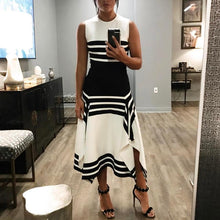 Load image into Gallery viewer, Round Neck ELegant Striped Sleeveless Dress