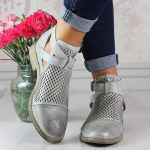 Hollow Across Strap Casual Ankle Boot