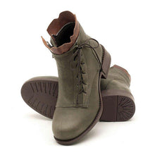 Load image into Gallery viewer, Pu Lace-Up Low Heel Boots Fashion Ankle Shoes