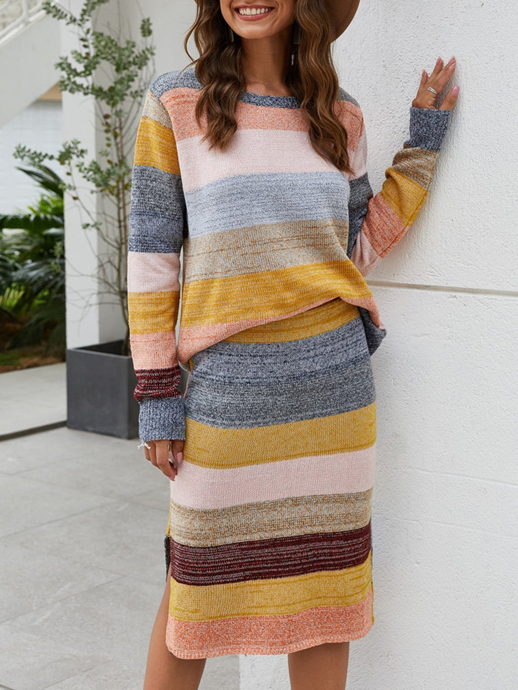 Stripes Color-block Casual Top with Skirt Set