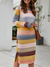 Load image into Gallery viewer, Stripes Color-block Casual Top with Skirt Set