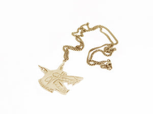Dog pendant necklace LUGOSIS + GORAN KLING -Yellow Gold Plated