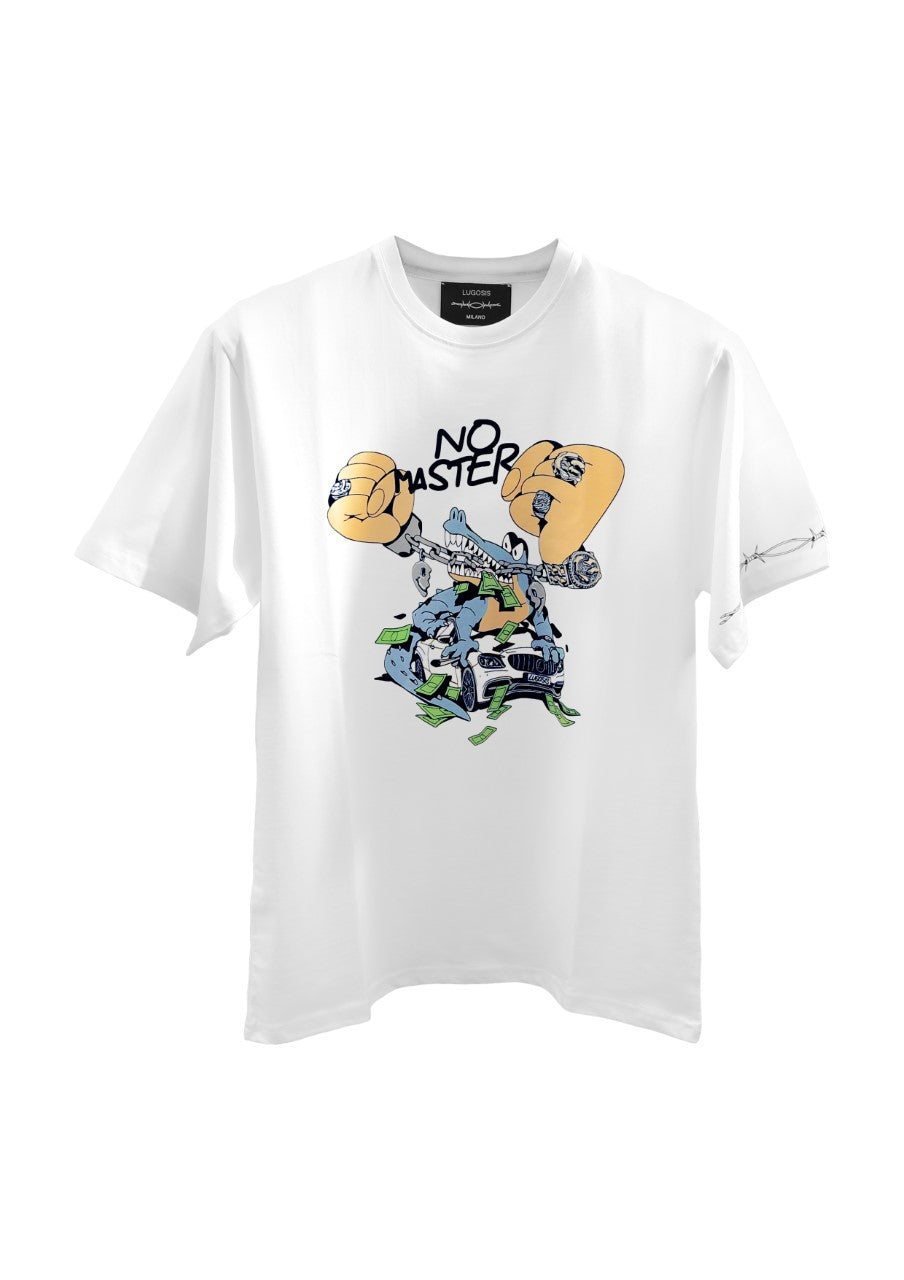"Lugosis T-Shirt ""Crocodile + Car"" White"
