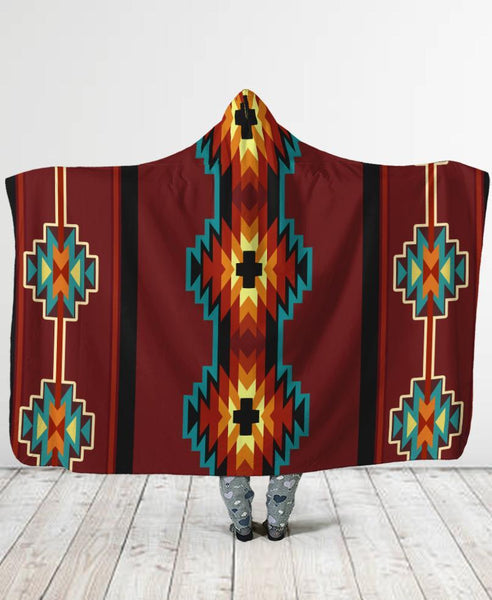 Brown Pattern Hooded Blanket