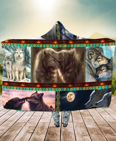 Native Loving Wolves Hooded Blanket