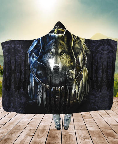 Forest Wolf Hooded Blanket