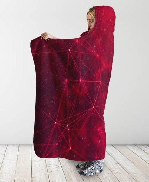 Galaxy Red Hooded Blanket