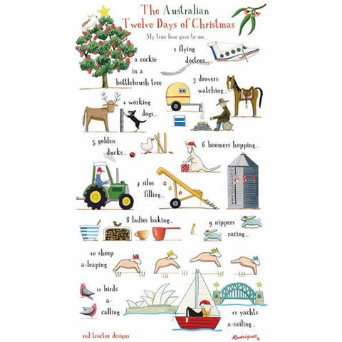 Twelve Days of Aussie Christmas Tea Towel