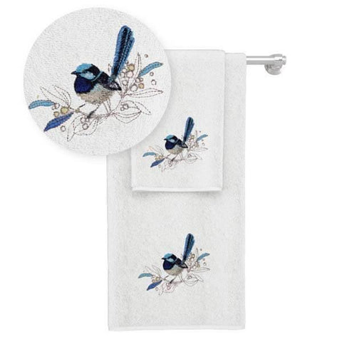 Blue Wren Face Washer and Hand Towel