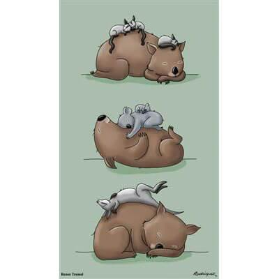 Wombat and Animals Renee Treml Tea Towel