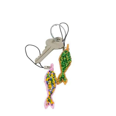 Glass Beaded Fish Key Ring