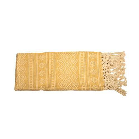 PET Yarn Throw with Hand Knotted Fringe - Old Gold